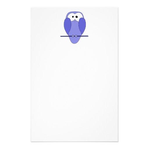 Cute Owl Cartoon. Blue. Stationery Design