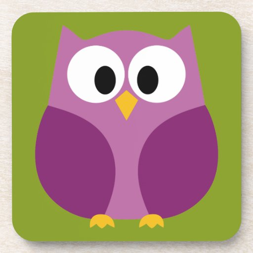 Cute Owl Cartoon Coaster