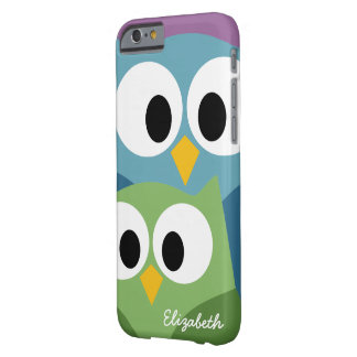 Cute Owl Cartoon eyes with Name - colorful Barely There iPhone 6 Case