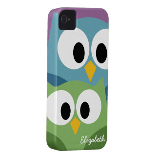 Cute Owl Cartoon eyes with Name - colorful Case-Mate iPhone 4 Case