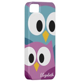 Cute Owl Cartoon eyes with Name - colorful iPhone 5 Case