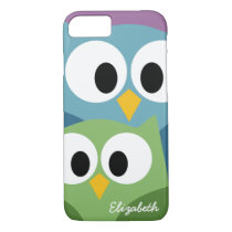 Cute Owl Cartoon eyes with Name - colorful iPhone 7 Case