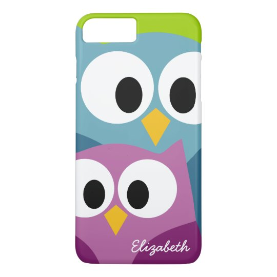 Cute Owl Cartoon eyes with Name - colorful iPhone 8 Plus/7 Plus Case