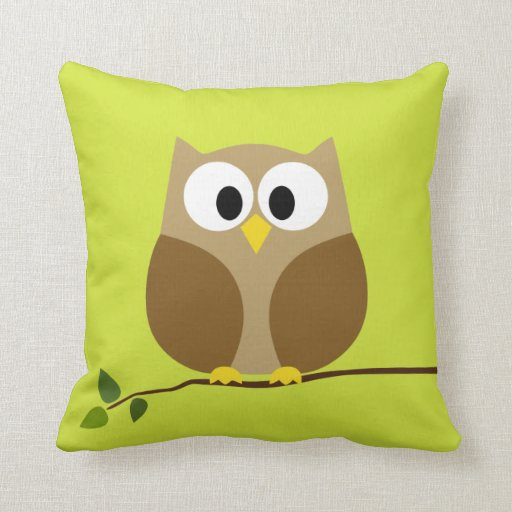 Cute Owl Cartoon on branch with Pattern on back Pillow Zazzle