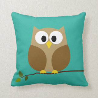 Cute Owl Cartoon on branch with Pattern on back Throw Pillows