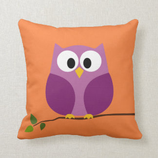 Cute Owl Cartoon on branch with Pattern on back Pillow