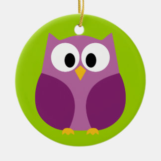 Cute Owl Cartoon - purple and green Double-Sided Ceramic Round Christmas Ornament