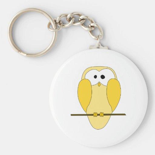 Cute Owl Cartoon. Yellow. Basic Round Button Keychain