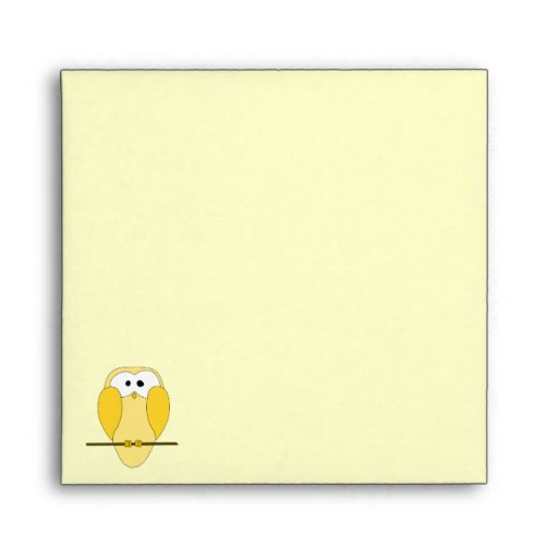Cute Owl Cartoon. Yellow. Envelope