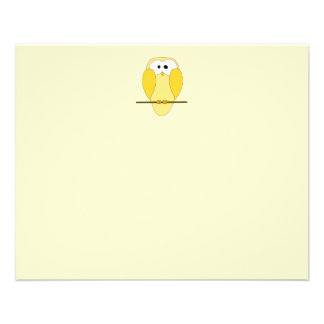 Cute Owl Cartoon. Yellow. Flyer