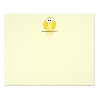 Cute Owl Cartoon. Yellow. Flyer