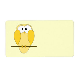 Cute Owl Cartoon. Yellow. Label