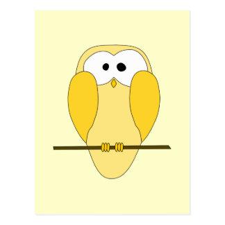 Cute Owl Cartoon. Yellow. Postcard