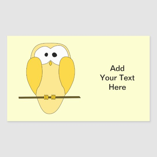 Cute Owl Cartoon. Yellow. Rectangular Sticker