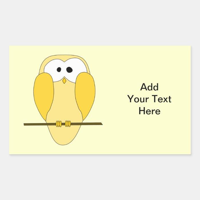 Cute Owl Cartoon. Yellow. Rectangular Sticker
