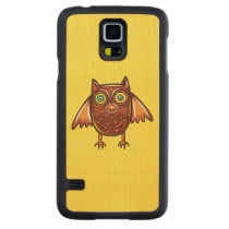 Cute Owl Carved Maple Galaxy S5 Case