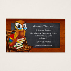 Cute Owl Chalkboard Teacher Business Card at Zazzle