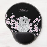 """Cute Owl Cherry Blossoms Black Pink Gel Mouse Pad<br><div class=""""desc"""">cute owl cherry blossoms dusky pink floral flowers lovely animal bird stylish trendy modern monogram name personalize customizable text</div>"""