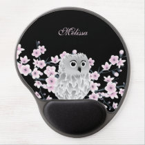 Cute Owl Cherry Blossoms Black Pink Gel Mouse Pad