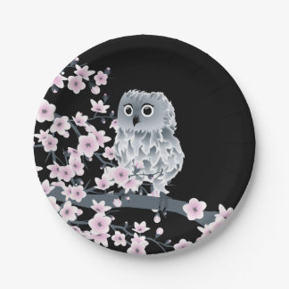 Cute Owl Cherry Blossoms Black Pink Paper Plate