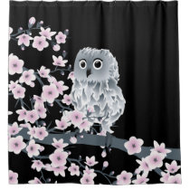 Cute Owl Cherry Blossoms Black Pink Shower Curtain