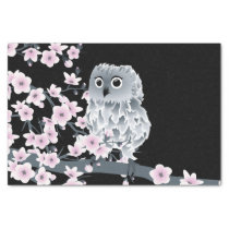 Cute Owl Cherry Blossoms Black Pink Tissue Paper