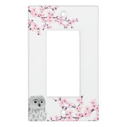 Cute Owl Cherry Blossoms Kids Light Switch Cover
