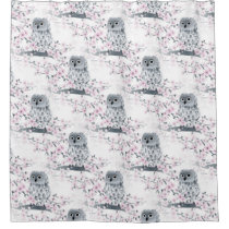 Cute Owl Cherry Blossoms Pattern Shower Curtain