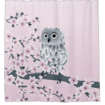 Cute Owl Cherry Blossoms Pink Kids Shower Curtain