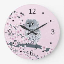 Cute Owl Cherry Blossoms Pink Numbers Large Clock