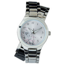 Cute Owl Cherry Blossoms Pink Silver Numbers Watch