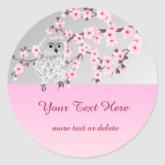 Cute Owl Cherry Blossoms Sticker