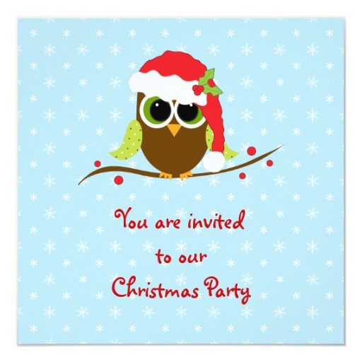 Christmas Children Party: Cute Owl Children's Christmas Party Invitation