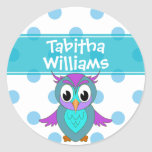 Cute Owl Children's Personalized Classic Round Sticker
