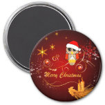 Cute owl,christmas 3 inch round magnet