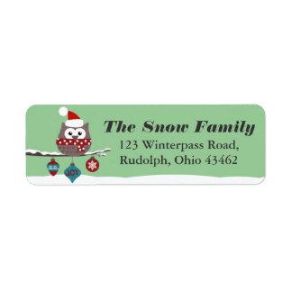 Cute Owl Christmas Mailing Label CUSTOM COLOR Return Address Label
