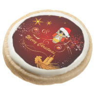 Cute owl christmas round sugar cookie