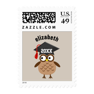 Cute Owl Class of ANY YEAR New Grad Name A04 Stamp