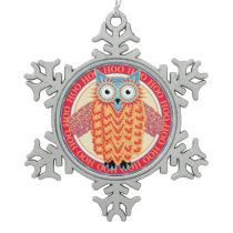 Cute Owl Colorful Christmas Snowflake Pewter Christmas Ornament