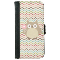 Cute Owl Colorful Modern Chevron Pattern iPhone 6/6s Wallet Case