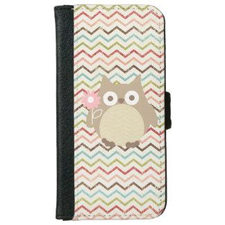 Cute Owl Colorful Modern Chevron Pattern iPhone 6 Wallet Case