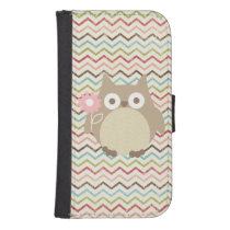 Cute Owl Colorful Modern Chevron Pattern Phone Wallet