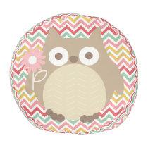 Cute Owl Colorful Modern Chevron Pattern Pouf