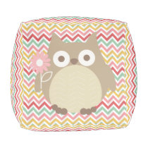 Cute Owl Colorful Modern Chevron Pattern Pouf