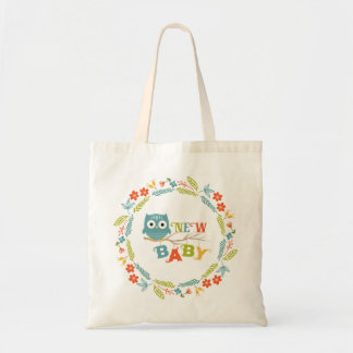 Cute Owl & Colorful Wreath & New Baby Text Tote Bag