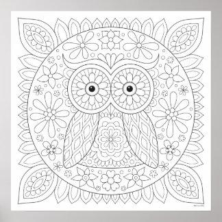 Cute Owl Coloring Poster - Owl Mandala Art Poster