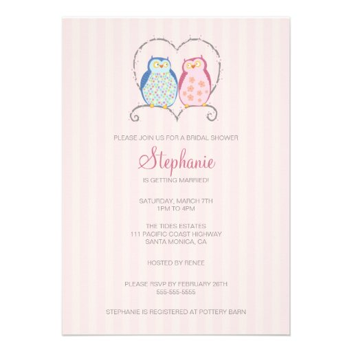 Cute owl couple bridal shower invitation 5 x 7 for Wedding couples shower invitations