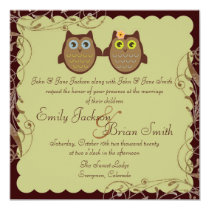 Cute owl couple brown theme wedding invitations
