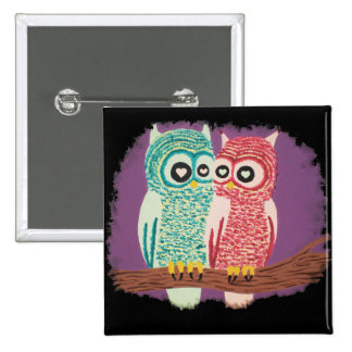 Cute Owl Couple Button