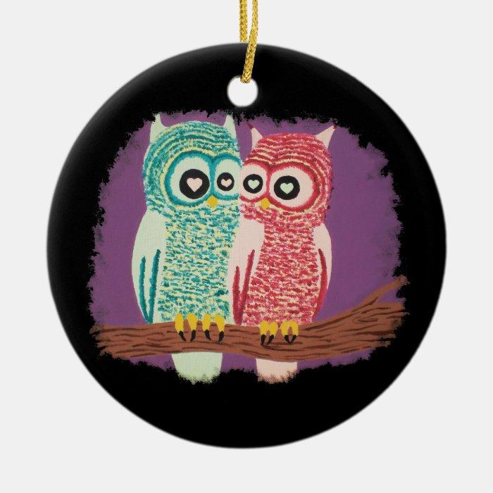 Cute owl couple ceramic ornament
